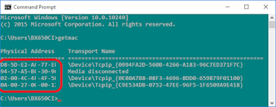 Find MAC Address on Windows 10