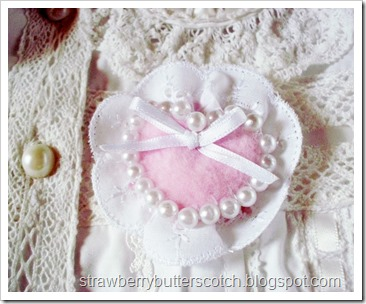 Pink Heart Brooch with Pearls, Lace and Ribbon