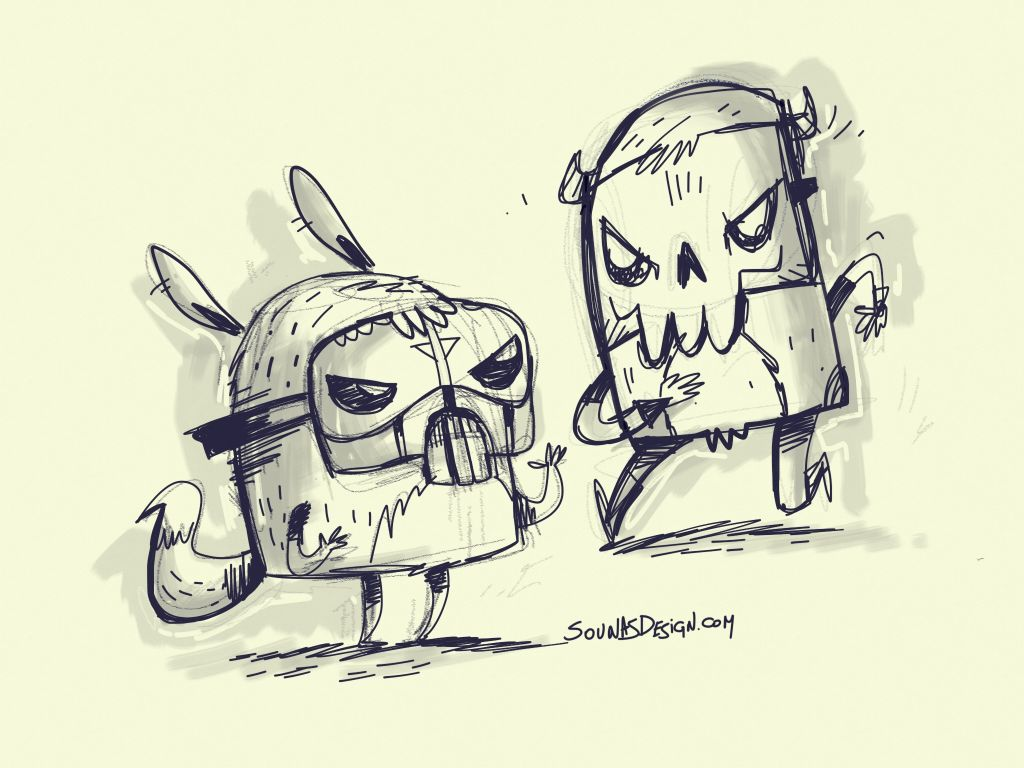 Monsters in mask made with Sketches
