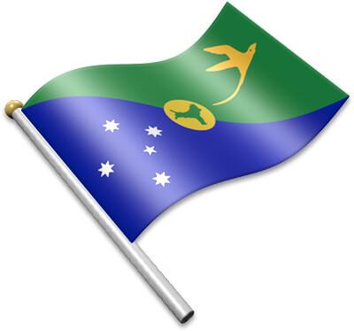 The Christmas-Island flag on a flagpole clipart image