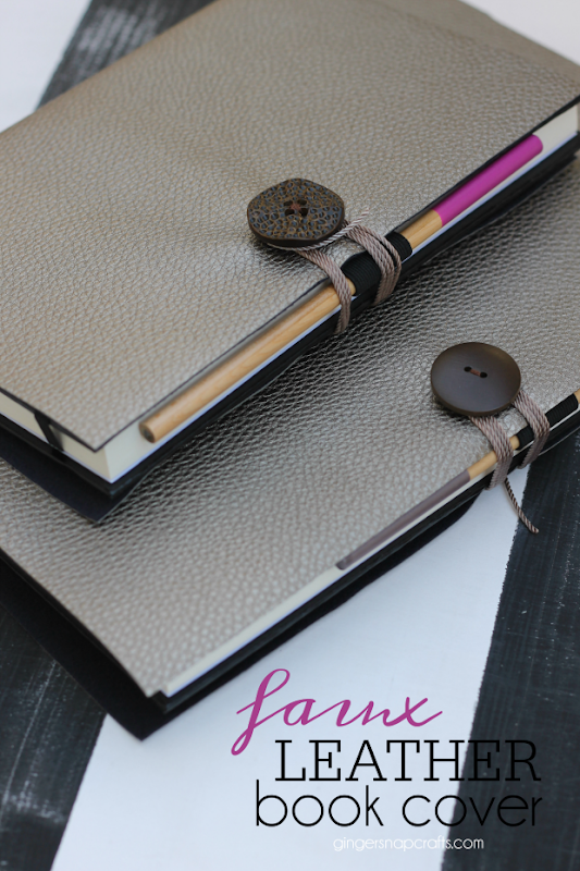 Faux Leather Book Cover at GingerSnapCrafts.com #hobbylobby #DIY #fauxleather