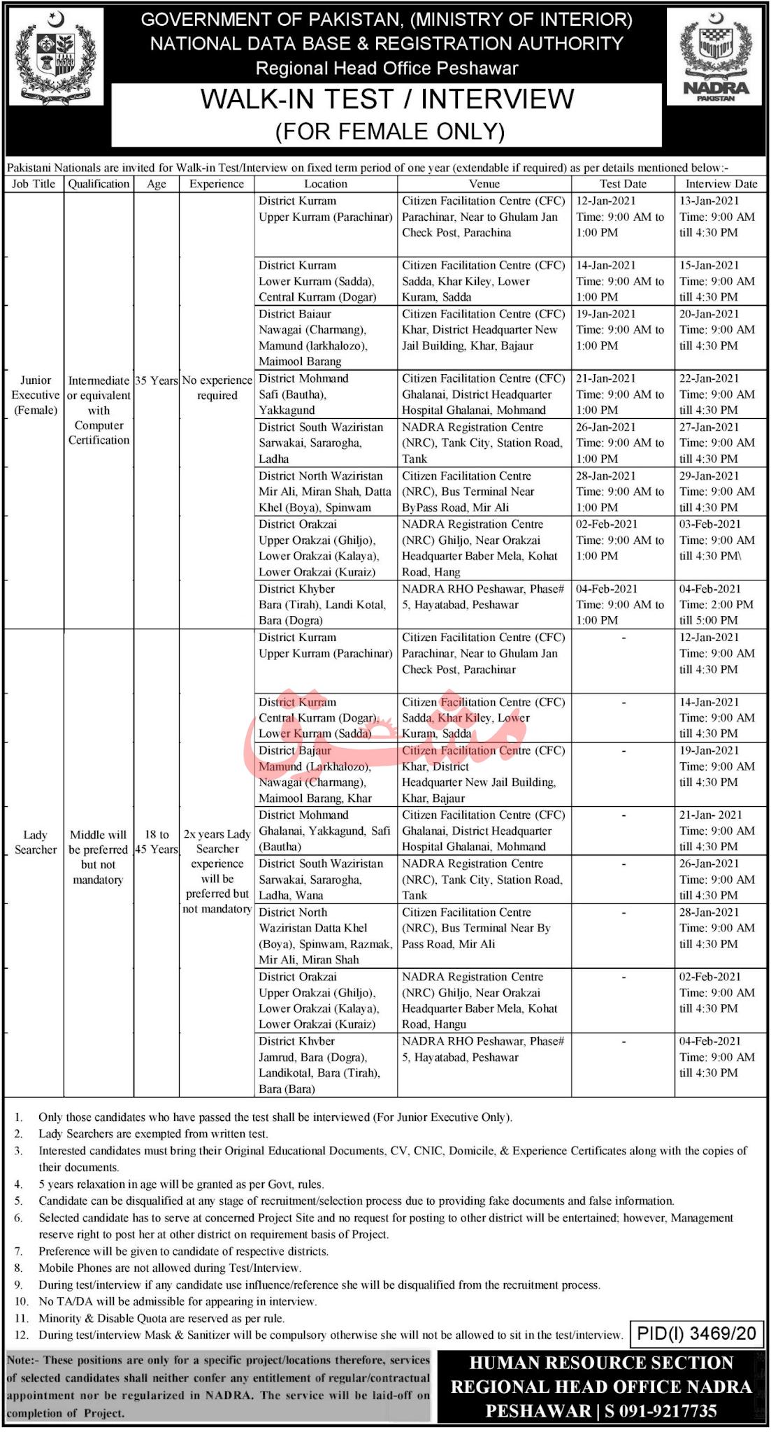 NADRA New Jobs 2021