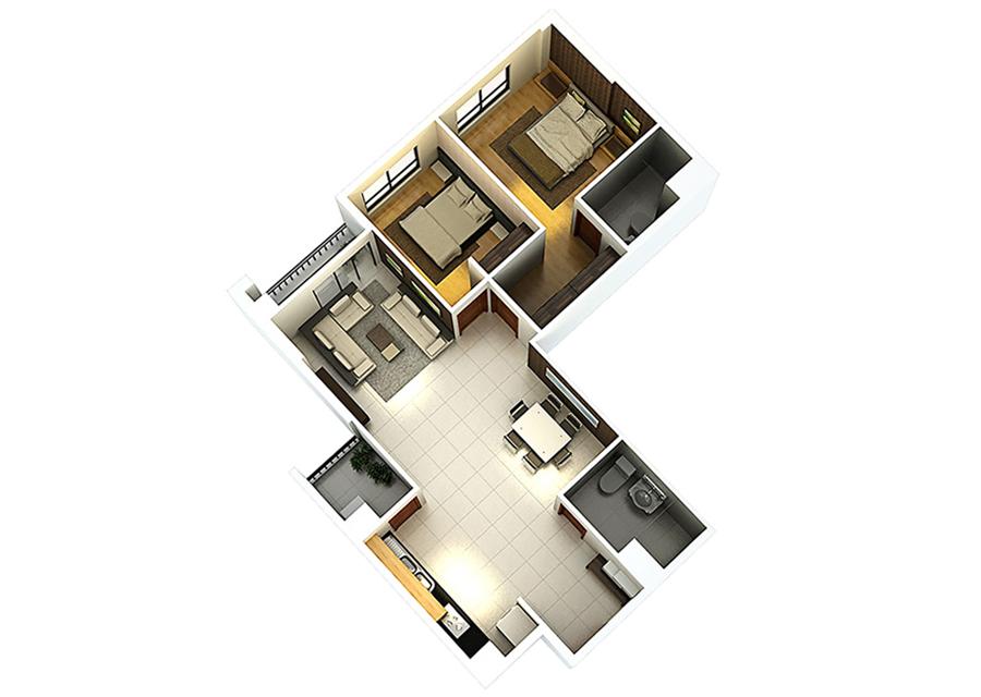 Phối cảnh 3D căn hộ 2 phòng ngủ DT: 87,77m2
