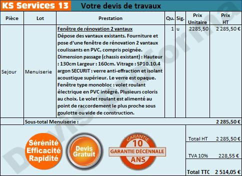 Ks services 13 prix devis pose de fen tre de r novation for Devis fenetre prix
