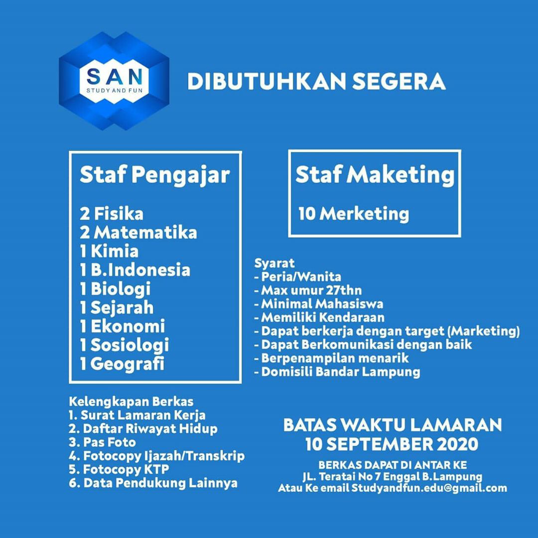 Lowongan Kerja Staf Pengajar Marketing Study And Fun Karir Bandar Lampung