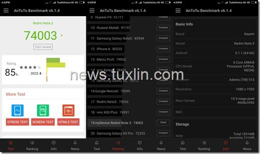 Benchmark Xiaomi Redmi Note 3 Pro AnTuTu v6