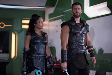 Thor: Ragnarok  L to R: Valkyrie (Tessa Thompson) and Thor (Chris Hemsworth)  Photo: Jasin Boland  ©Marvel Studios 2017
