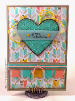 Linda Vich Creates: Fusion Card Challenge. A non-traditional Valentine using Coastal Cabana, Crisp Cantaloupe, Crushed Curry and Sahara Sand complete with a heart embossed heart and coordinating ribbons all from Stampin' Up! Sale-a-Bration products include Best Year Ever paper and accessory pack.