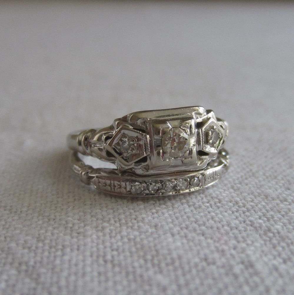 vintage platinum band art deco wedding band Wide Filigree Platinum Band