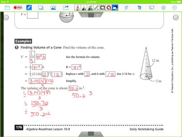 Mrs Cannefaxs Classes Pre Algebra May 2 6 2016 – Volume of Cone Worksheet