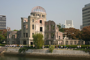 A-Bomb Dome and schoolchildren