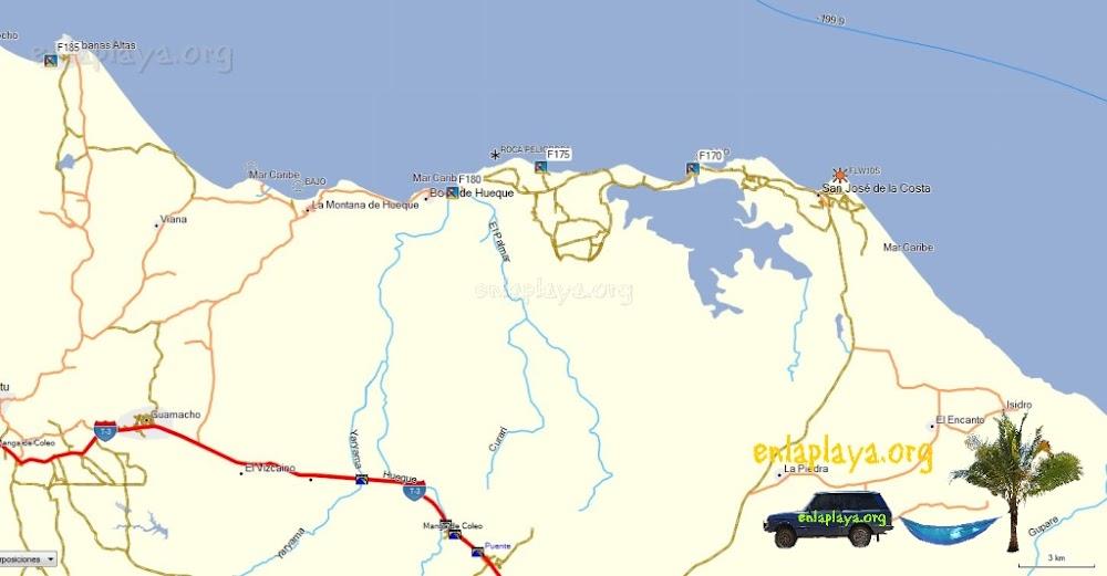 Mapa de Playas del Sector Boca de Hueque