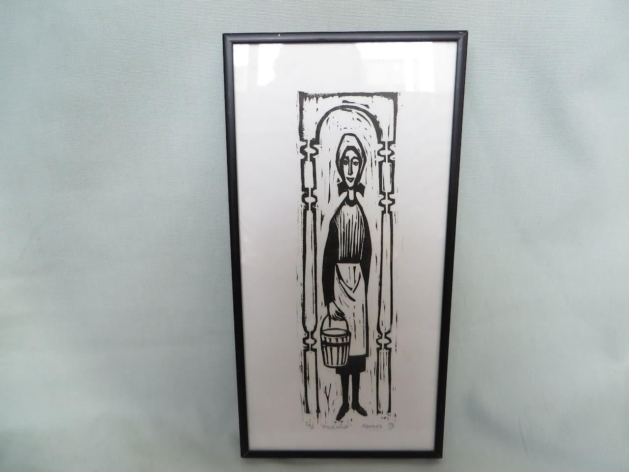 Constantine Kermes Woodblock Print
