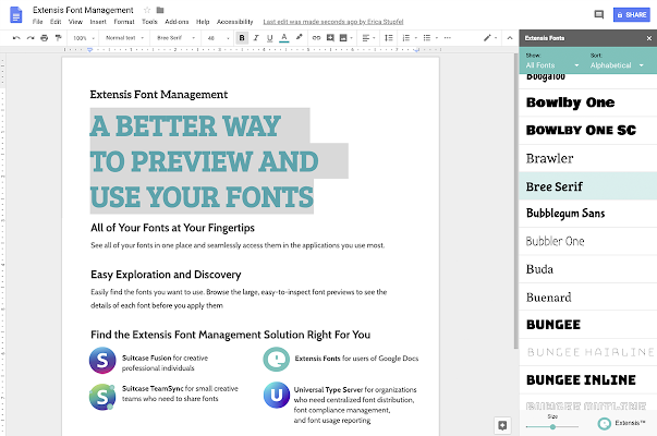 Extensis Fonts - G Suite Marketplace
