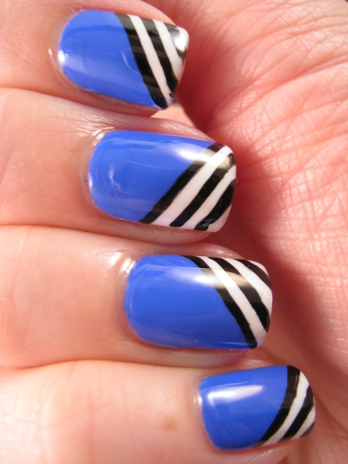 Latest Blue Black And White Nail Designs 2016