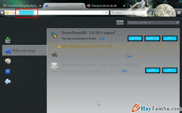 Xóa bỏ addon virut facebook trên Firefox