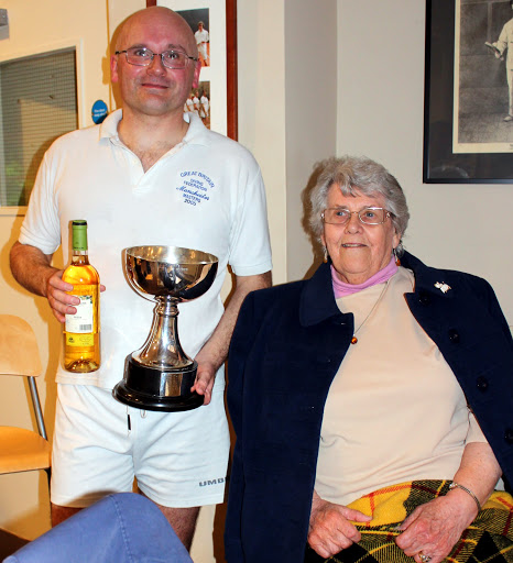 Richard Bowers with the newly polished Graduate Cup and an equally beaming mum