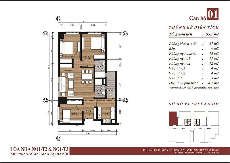 Thiết kế căn hộ 01 N01-T3 Ngoại Giao Đoàn