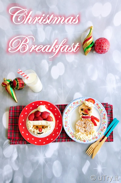 Christmas Breakfast: Santa Claus and Snowman Pancakes  http://uTry.it