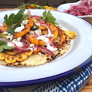 Delicata Squash Tacos with Quick Pickled Onions