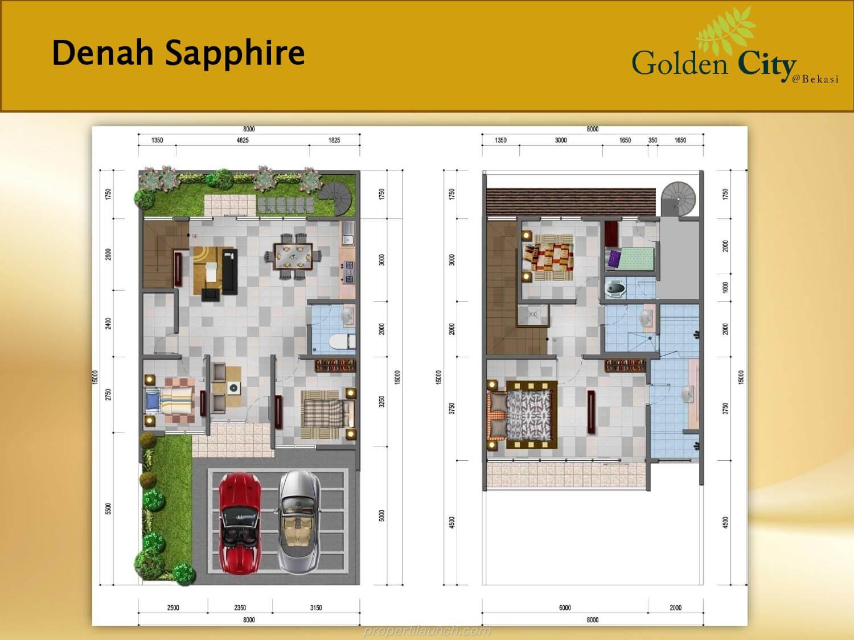 Denah Rumah Sapphire Cluster Diamond Golden City Bekasi