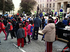 The kids warming up in front of the Capitol.