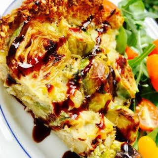 Flourless Brussels Sprout Quiche with Cauliflower Crust.