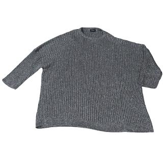 Raf Simons Two-Collared Oversized Metallic Sweater