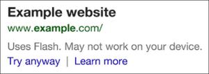 Waarschuwing voor Flash sites