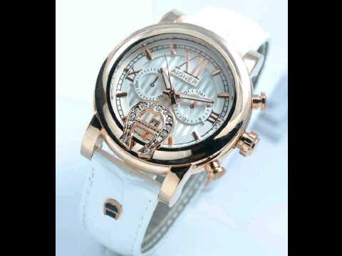 Jual jam tangan Aigner putih romawi ring polos