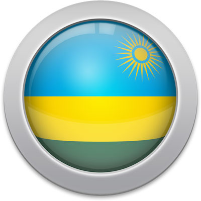 Rwandan flag icon with a silver frame