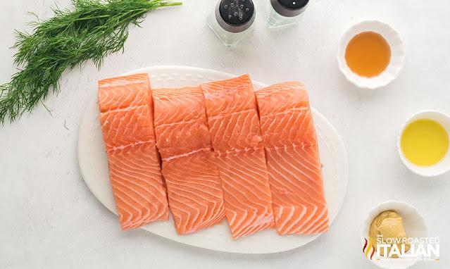 airfryer salmon ingredients in bowls