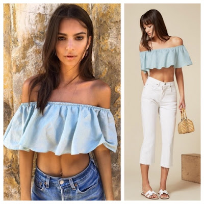 Emily Ratajkowski in Reformation Marguerite Blue Off the Shoulder Crop Top