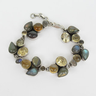 Sterling Silver Multicolored Stone Bracelet