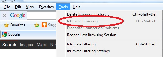 Inprivate browing disabled in IE