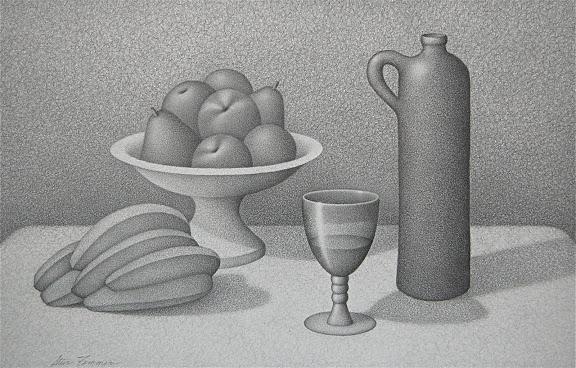 """Still Life with Fruit"" by Artist Steve Femmer.Graphite drawing. $680.00"