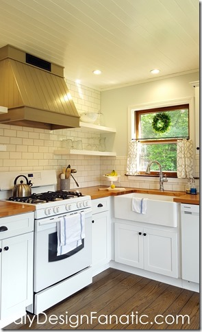 cottage kitchen, farmhouse kitchen, white kitchen, subway tile, wood countertops, cafe curtains