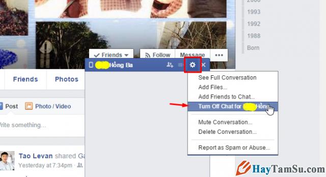 cách khóa chat facebook một người nào đó