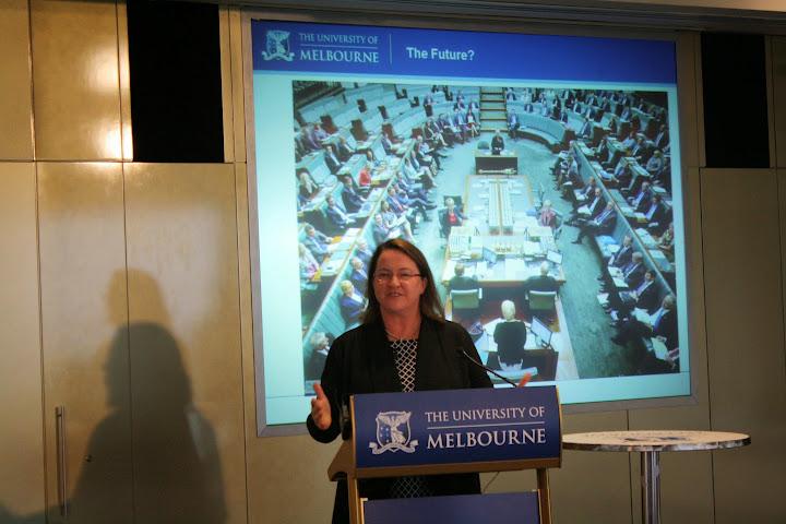 Speaking at Melbourne University at the Women in Politics Forum.