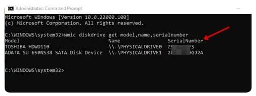 كيفية البحث عن الرقم التسلسلي لمحرك الأقراص الثابتة في نظام التشغيل ويندوز