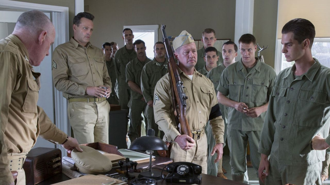 From Left to right: Colonel Cunningham (Robert Morgan), Sergeant Howell (Vince Vaughn), and Desmond Doss (Andrew Garfield) in HACKSAW RIDGE. (Photo by Mark Rogers / Lionsgate)