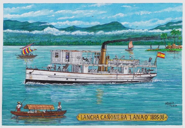 Recreación artistica de la cañonera LANAO. Autor Manuel Garcia Garcia. Nuestro agradecimiento.jpg