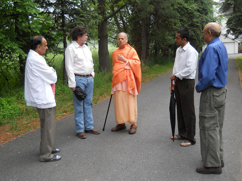 With devotees on the morning walk