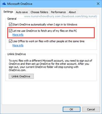 Improvements in OneDrive for Windows 10 - Fetch any of my files settings (www.kunal-chowdhury.com)