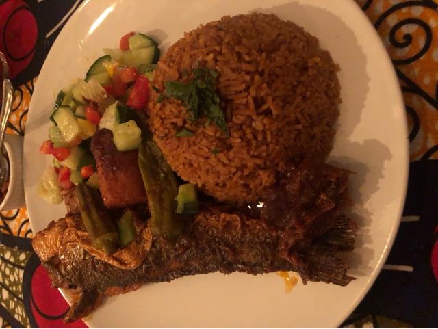 Sea bass and rice casserole yam, carrot , okra and aubergine
