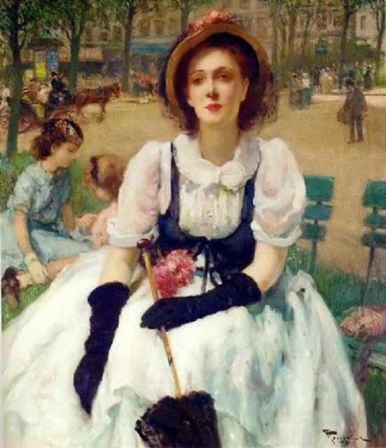 Fernand Toussaint - Femme élégante au parc, Paris