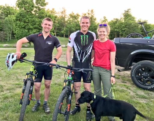 Logan Christian, Tucker and Mandi Hibbert on trail cranking out a few laps, evening June 5th, 2017.
