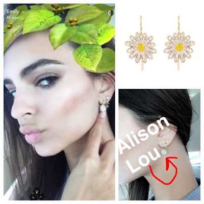 Emily Ratajkowski in Alison Lou Diamond Enamel Yellow Gold Daisy Earrings