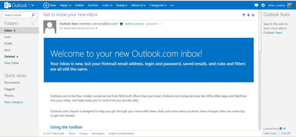 Outlook.com Welcome message