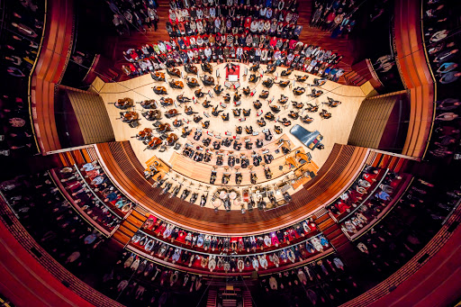 Remote overhead shot of the Philladelphia Orchestra